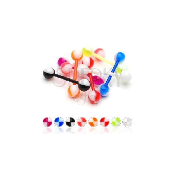 UV nyelv piercing - színes negyedek