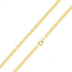 375 sárga arany nyaklánc - elipszis és ovális alakú, 450 mm