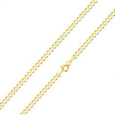 9K sárga arany nyaklánc - hatszögű láncszemek, 550 mm