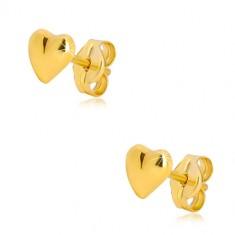 9K sárga arany fülbevaló - fényes szabálytalan szív, stekkeres zárszerkezet