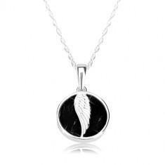 6ac90e4ff2 925 ezüst nyaklánc - fényes kör, angyal szárny, fekete színű márvány fénymáz