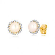 9K sárga arany fülbevaló - csillogó cirkónia virág, középen fehér gyöngy