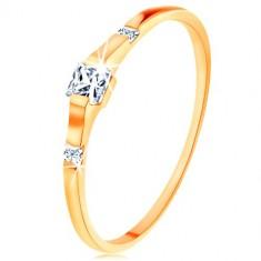 375 arany gyűrű - három négyzet cirkónia, fényes és sima szárak