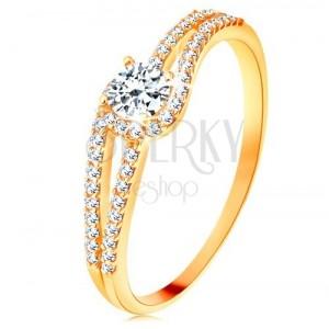 375 arany gyűrű osztott, csillogó szárakkal, átlátszó cirkónia