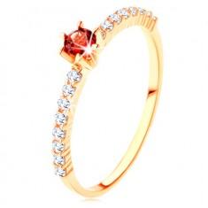 375 arany gyűrű - átlátszó cirkóniás vonal, kiemelkedő piros gránát