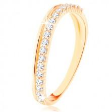 9K sárga arany gyűrű - sima és cirkóniás hullámos vonal