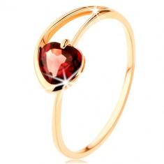 9K sárga arany gyűrű - piros gránát szívecske szabálytalan szárak