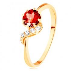 375 arany gyűrű - kerek piros színű gránát, csillogó hullám
