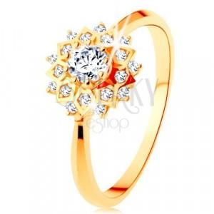 375 arany gyűrű - csillogó nap kerek átlátszó cirkóniákkal