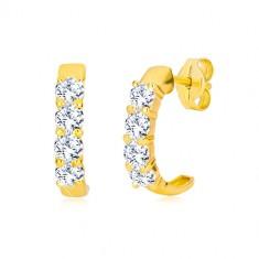 9K stekkeres sárga arany fülbevaló - félkör, átlátszó kerek cirkóniák