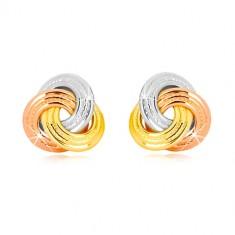 14K kombinált arany fülbevaló - háromszínű szélesebb csomó