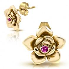 Arany színű acél fülbevaló - kinyílt rózsa, rózsaszín cirkónia