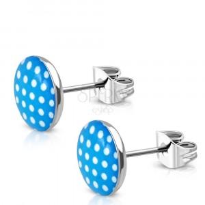Sebészeti acél fülbevaló- kék-fehér pöttyök, fénymáz, stekkeres