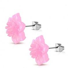 Acél fülbevaló -rózsaszín gyanta virág, szivárvány árnyalat