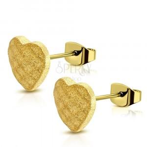 Acél fülbevaló arany színben - rácsos szimmetrikus szívecske, stekkeres