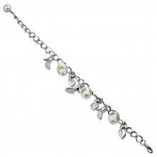 Ezüst színű karkötő medállal- levelek, tűsarok, gyöngyök rózsa motívummal