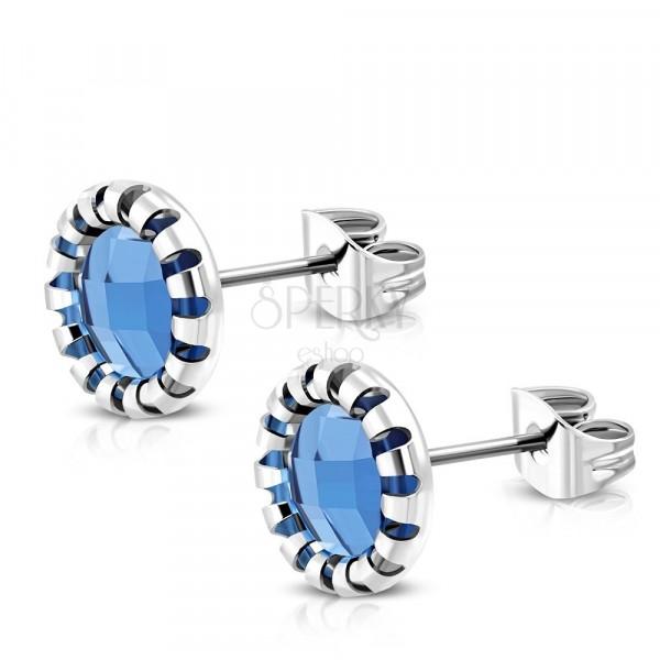 Ezüst színű sebészeti acél fülbevaló-kivágott virág, kék üveg kő