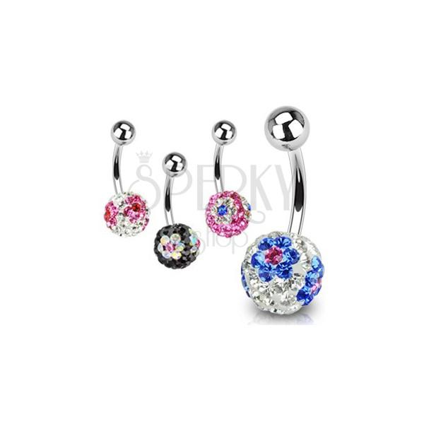 Köldök piercing - Swarovski kristályokkal, színes virágok