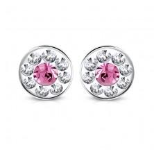 Ezüst színű acél fülbevaló - színes Swarovski® kristályok, virág, 7 mm
