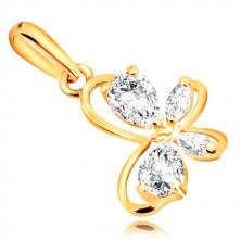 9K sárga arany medál - lepke alakzat átlátszó csillogó cirkóniákkal