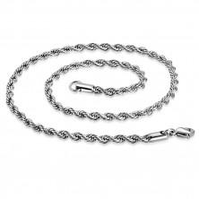 Spirálos nyaklánc acélból, ezüst szín, ovális szemek, 750 mm