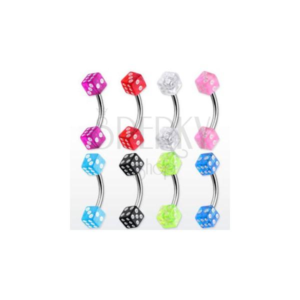 Szemöldök piercing - színes dobókockák