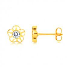 585 sárga arany fülbevaló - virág alakzat öt szirommal és cirkóniával, vágatok