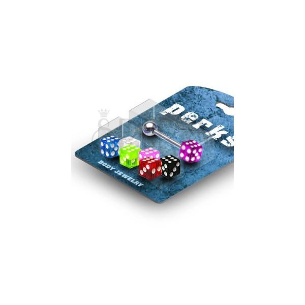 Nyelvpiercing készlet - színes dobókockák
