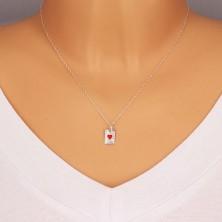 925 ezüst medál - kártyalap, ász szív piros fénymázzal