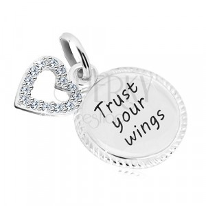 """925 ezüst medál - kör """"Trust your wings"""" felirattal, szív cirkóniákkal"""