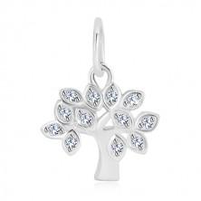 925 ezüst medál - életfa, levelek átlátszó, kerek cirkóniákkal