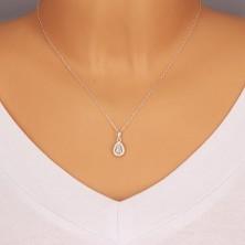 925 ezüst medál - csillogó csepp alakú medál cirkóniákkal