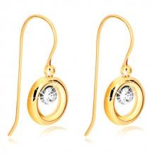 9K arany fülbevaló - sárga arany karika, középen fehér arany kör cirkóniával