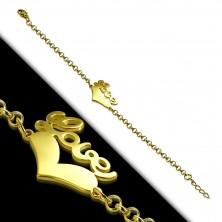 """Arany színű acél karkötő - szív alakzat """"Love"""" felirattal, lánc kerek szemekből"""