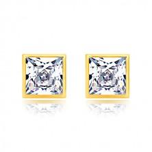 585 sárga arany fülbevaló - csillogó négyzet alakú cirkónia, menetes stekkerrel, 6 mm