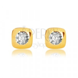 9K sárga arany fülbevaló - fényes négyzet lekerekített szélekkel és cirkóniával