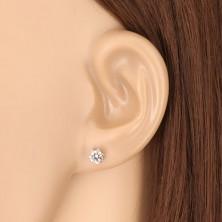 375 fehér arany fülbevaló - csiszolt kerek cirkónia hatkarmos foglalatban, 5 mm