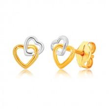 9K kombinált arany fülbevaló - szív alakzatok, stekkeres