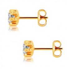 375 sárga arany fülbevaló - csillogó, átlátszó cirkónia hatkarmos foglalatban, 5 mm