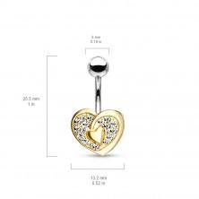 316L acél köldök piercing - szív alakzat középen egy kisebb szívvel, csillogó cirkóniák