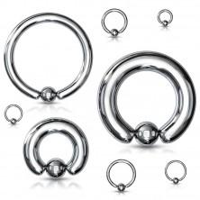 316L acél piercing - egyszerű kör golyóval, ezüst színű, 6 mm