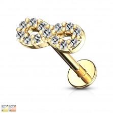 Acél ajak, áll és fül piercing - végtelen szimbólum cirkóniákkal, 8 mm