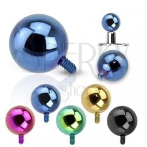 316L acél kiegészítő golyó az implantátumhoz - anodizált felület, különböző színkombinációk, 5 mm