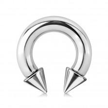 316L acél piercing - fényes patkó alakzat, ezüst szín, 6 mm vastag