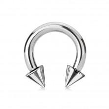 316L acél piercing - fényes patkó alakzat, ezüst szín, 4 mm vastag