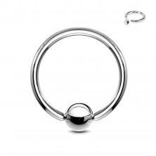 Sebészeti acél piercing ezüst színben - karika golyóval, 0,8 mm