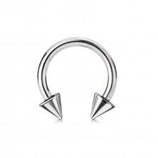 Nemesacél piercing, ezüst színű - patkó alakzat tüskékkel, 2 mm