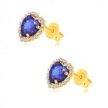 375 sárga arany fülbevaló - kék zafír szív alakú cirkóniával, apró cirkóniákkal körberakva