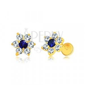 585 arany fülbevaló - virág alakzat cirkóniákkal, középen kék zafír cirkóniával, stekkeres