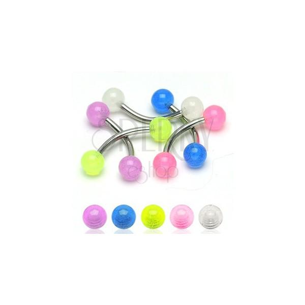 Szemöldök piercing - átlátszó színes golyócskák 4 mm